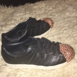 RARE adidas superstar studded rose gold toe.